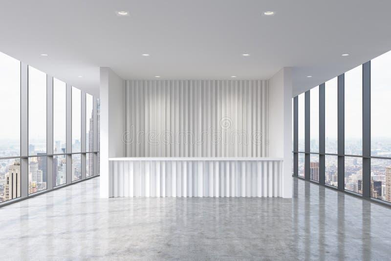 Recepcyjny teren w nowożytnym jaskrawym czystym biurowym wnętrzu Ogromni panoramiczni okno z Nowy Jork widokiem Pojęcie butika ko royalty ilustracja