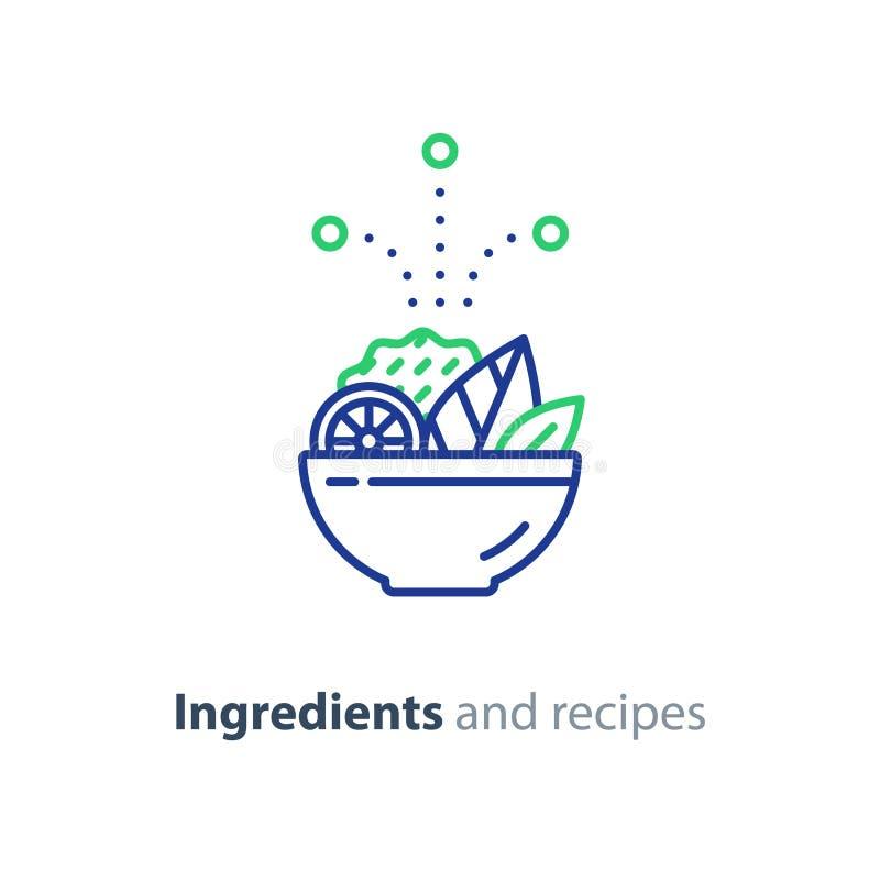 Recept en ingrediënten, de lijnpictogram van de saladekom, dieetvoedsel stock illustratie