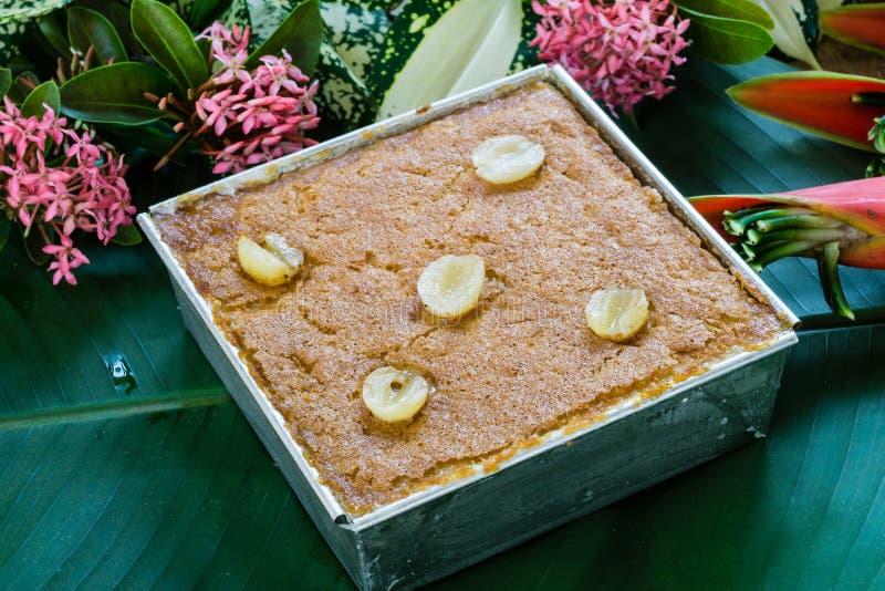 Recept för efterrätt för vaniljsås för Mung böna thailändskt arkivbild