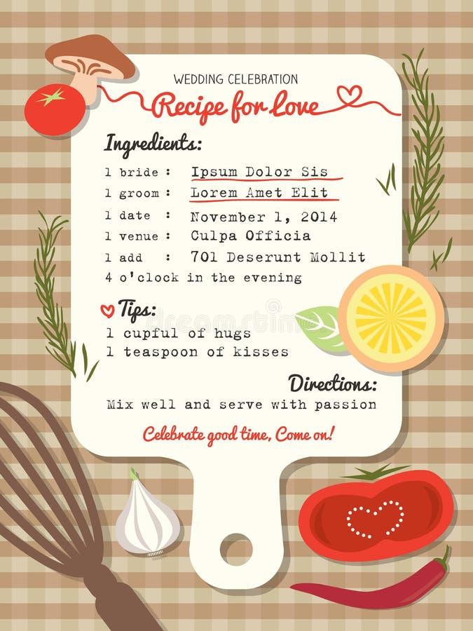 Recept för idérik bröllopinbjudan för förälskelse royaltyfri illustrationer