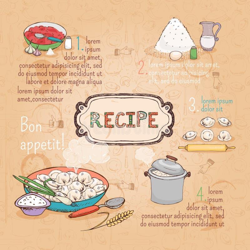 Recept för matingredienser stock illustrationer