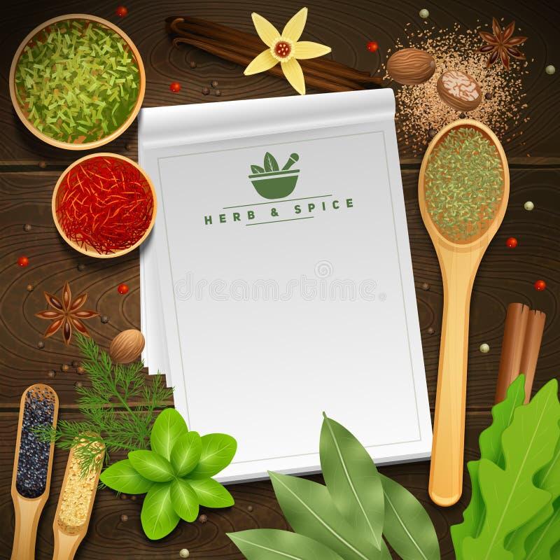 Receptbok på träbakgrund vektor illustrationer