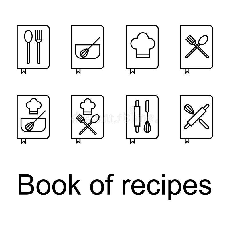 Receptenboek, Recepten, geplaatste Kookboekpictogrammen royalty-vrije illustratie