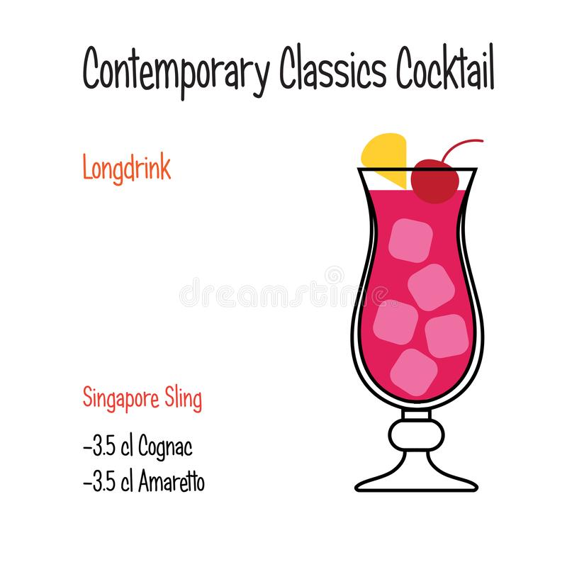 Receptet för illustrationen för vektorn för coctailen för den Singapore remmen isolerade det alkoholiserade stock illustrationer