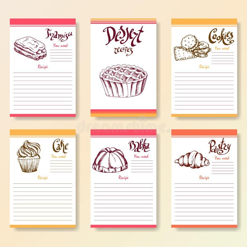Receptet förbigår samlingen Efterrättobjekt med handgryningbokstäver Vektormatillustration stock illustrationer