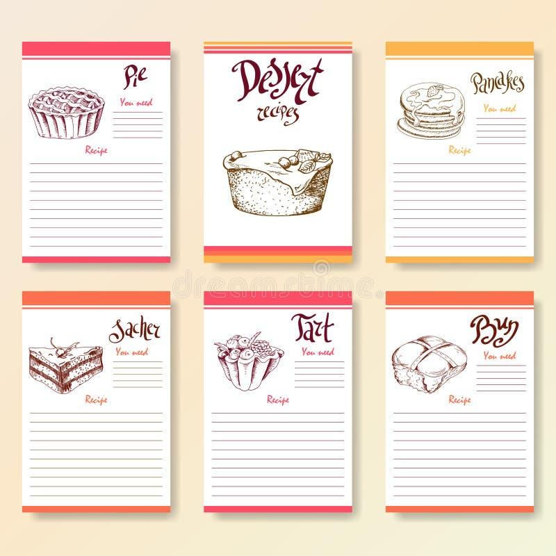Receptet förbigår samlingen Efterrättobjekt med handgryningbokstäver Vektormatillustration royaltyfri illustrationer