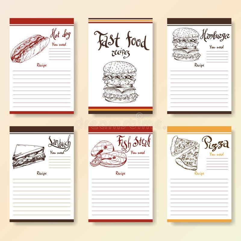 Receptet förbigår samlingen Snabbmatobjekt med handgryningbokstäver Vektormatillustration royaltyfri illustrationer