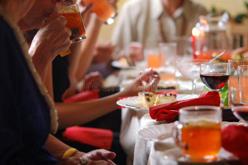Reception. Setting. People sitting around the table stock photography