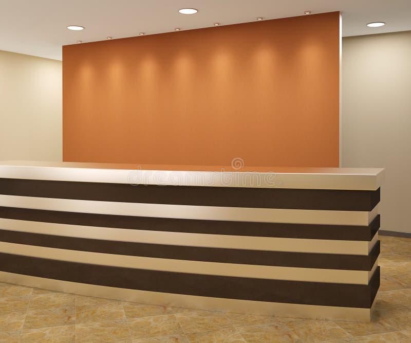 Reception area. Reception in modern office. 3d render stock illustration