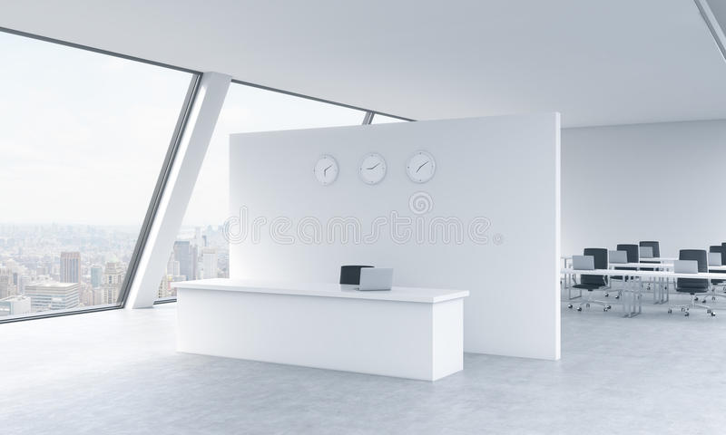 Reception area with clocks and workplaces in a bright modern open space loft office. White tables. New York panoramic view in the stock illustration