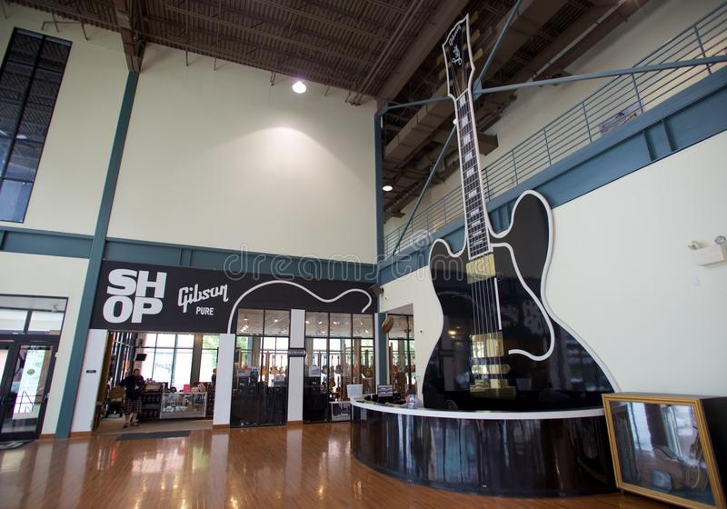 Gibson Guitar factory in Memphis, Tennessee. Gibson Guitar Corporation is an American maker of guitars and other instruments, now based in Nashville, Tennessee royalty free stock photography