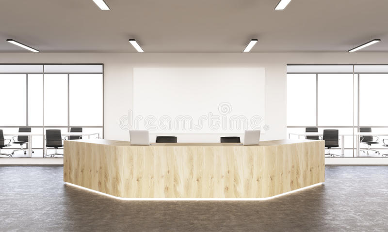 Reception area. Interior design with reception area and blank board. Mock up, 3D Rendering royalty free illustration