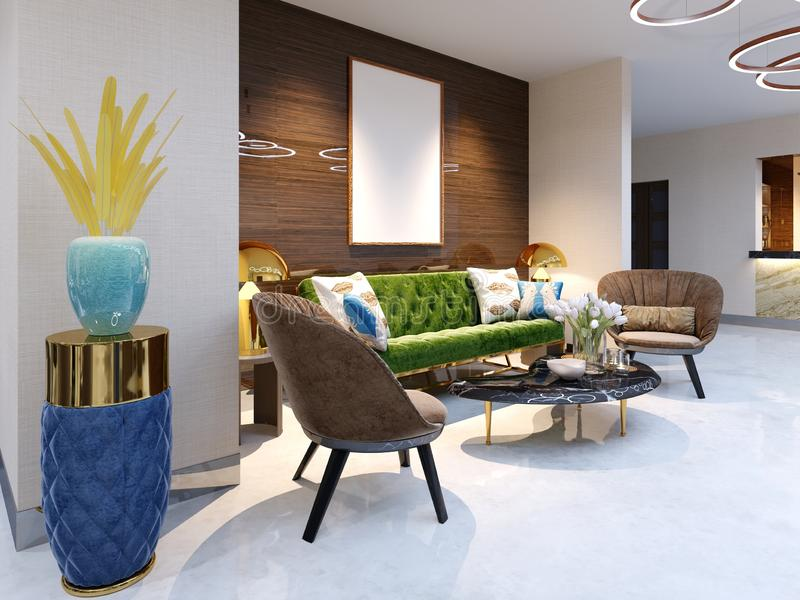 Reception area and lounge area with beautiful colored furniture, a sofa with two armchairs, metal legs and soft upholstery. The royalty free illustration