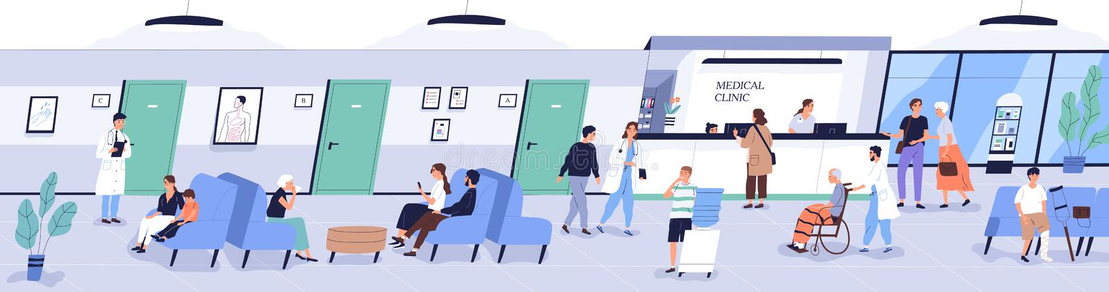 Reception area of medical center or hospital with people or patients waiting for doctor`s appointment. Men, women and stock illustration