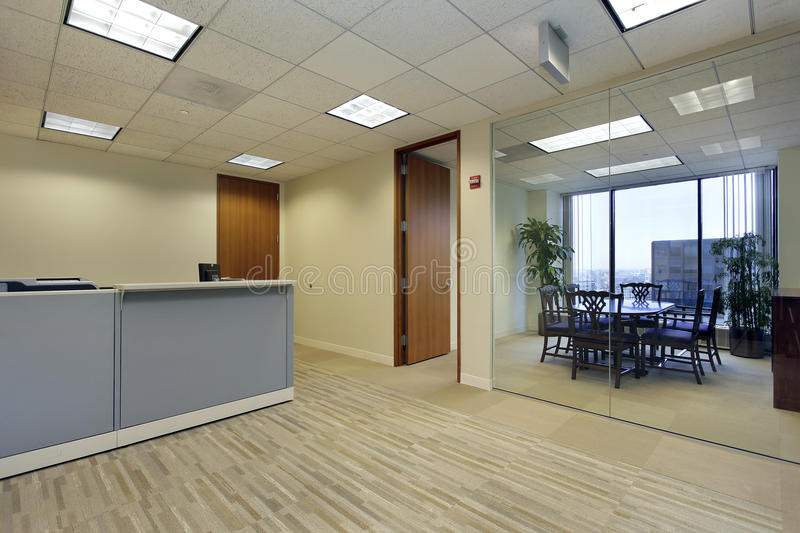 Reception area in office stock photo