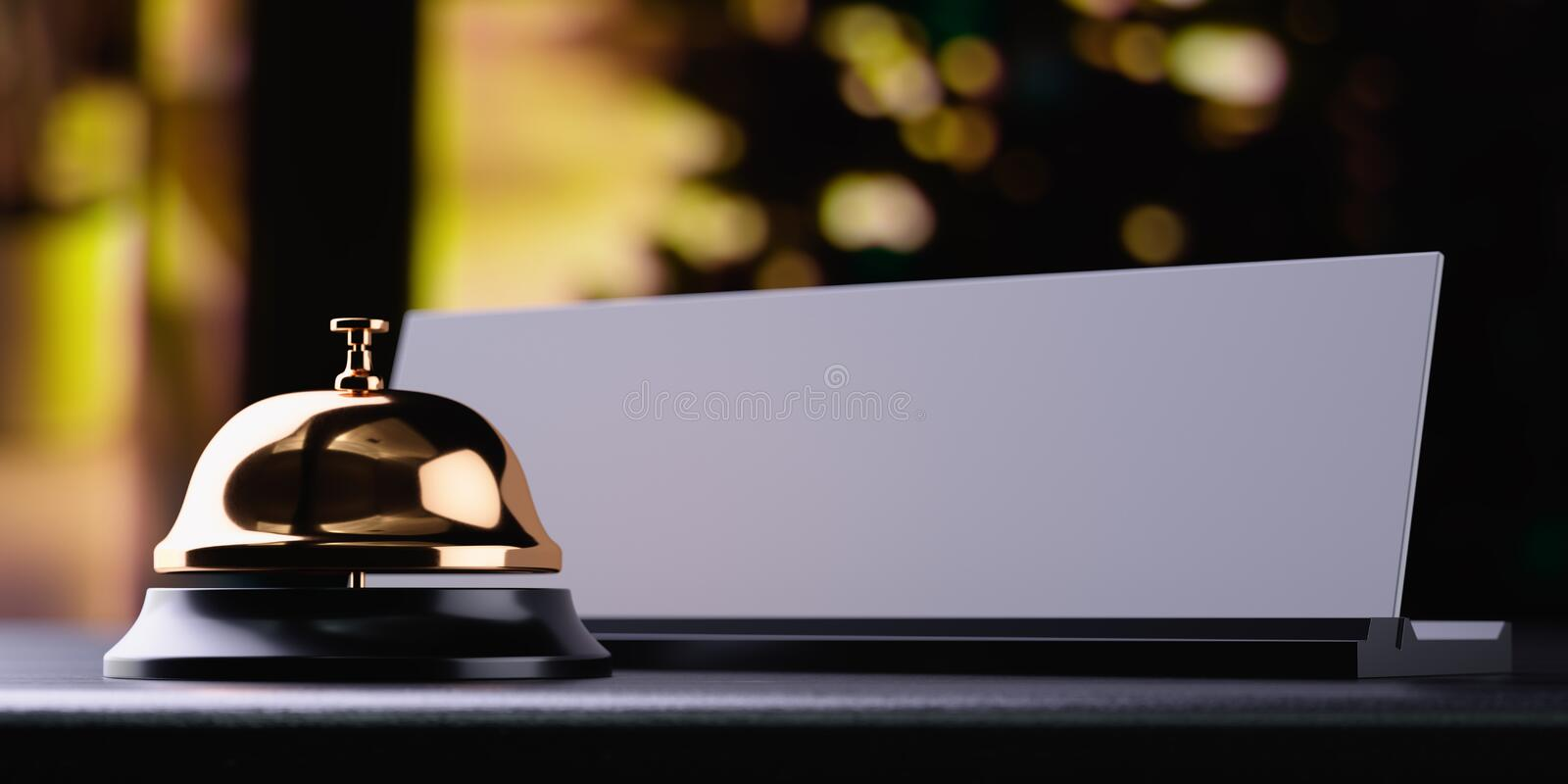 Download Reception Bell Golden With White Card Stock Illustration - Illustration of card, business: 105241483