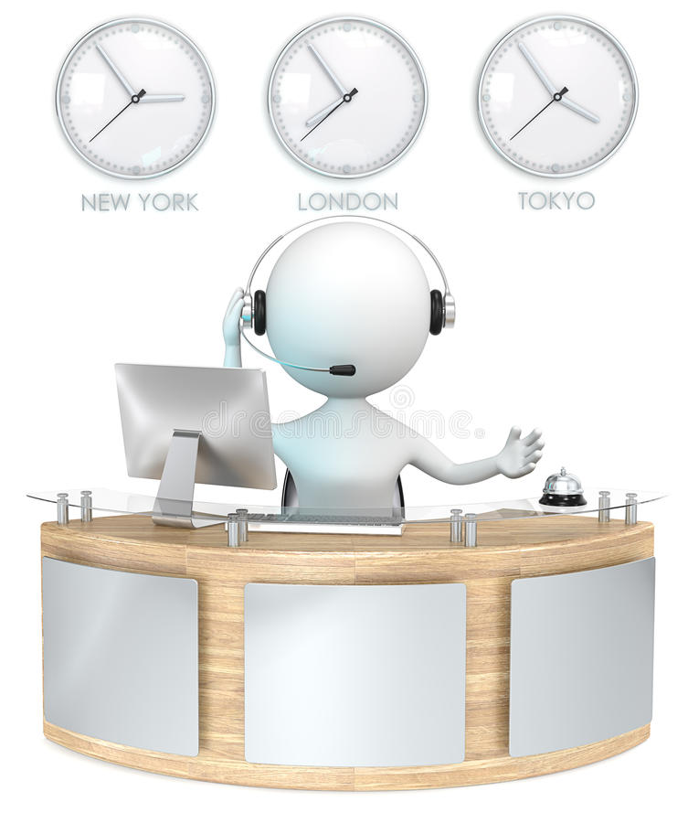 Reception. Classic reception with 3 Clocks. Receptionist talking on headset vector illustration