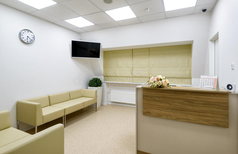 Reception of clinic or office. Modern reception of clinic or office stock photo