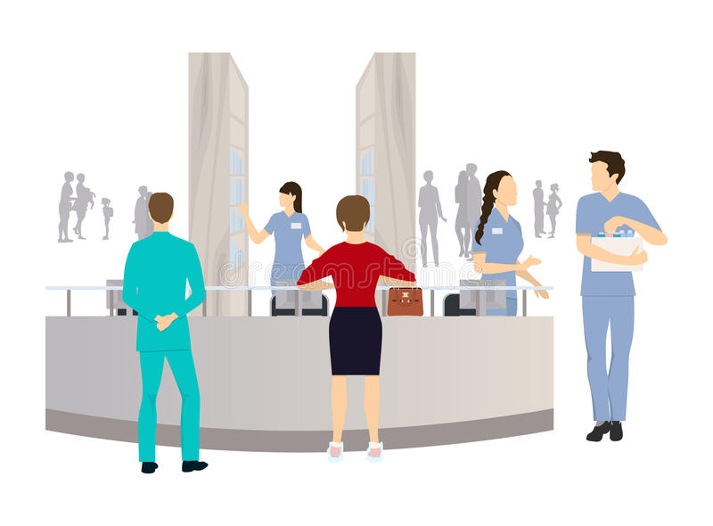 Reception in the clinic. Patient and doctors and nurses royalty free illustration
