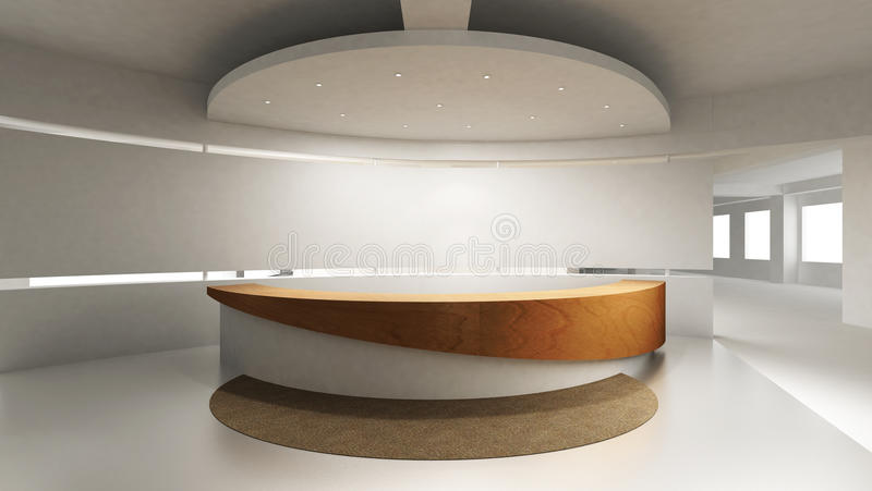 Reception Counter. A reception area in an office block. Behind the reception counter is a blank wall for placing company logo vector illustration