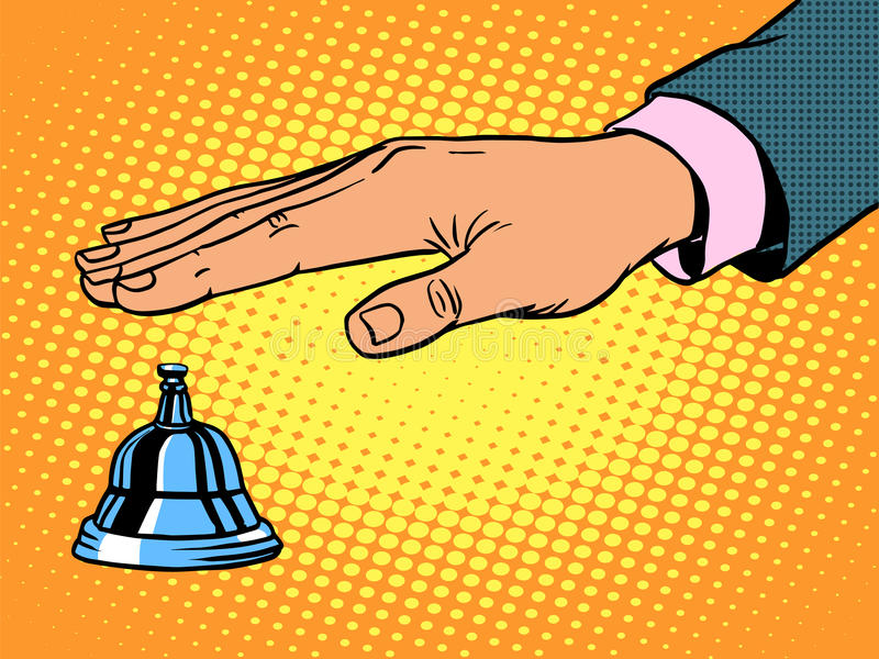 Reception Desk call bell hand royalty free illustration