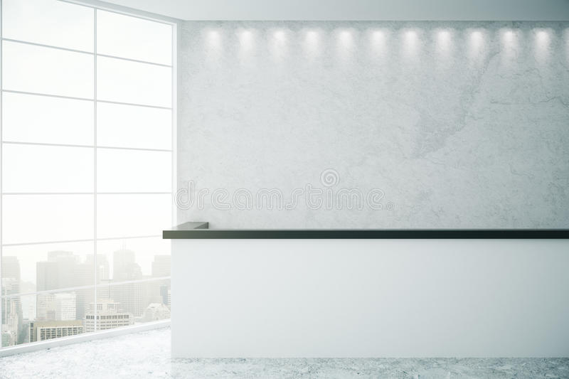 Reception desk and city view royalty free illustration