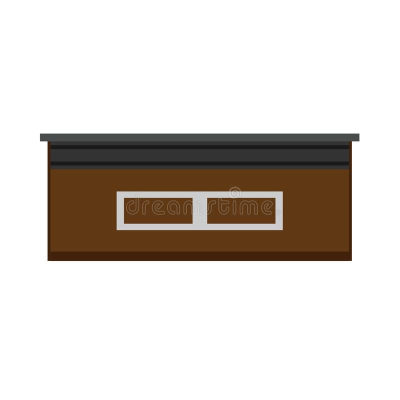 Reception desk front view vector icon. Hotel symbol office company lobby service furniture. Business interior equipment royalty free illustration