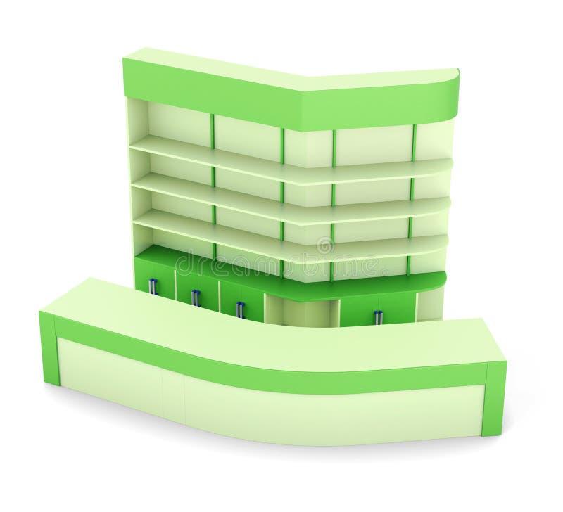 Reception desk with multiple shelf on white background. vector illustration