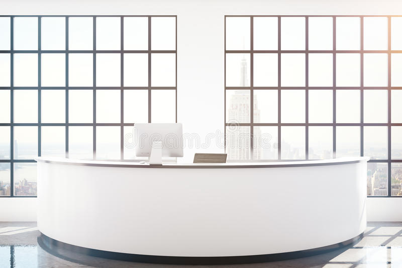 Reception desk with NY view stock illustration