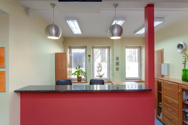 Reception desk stock image