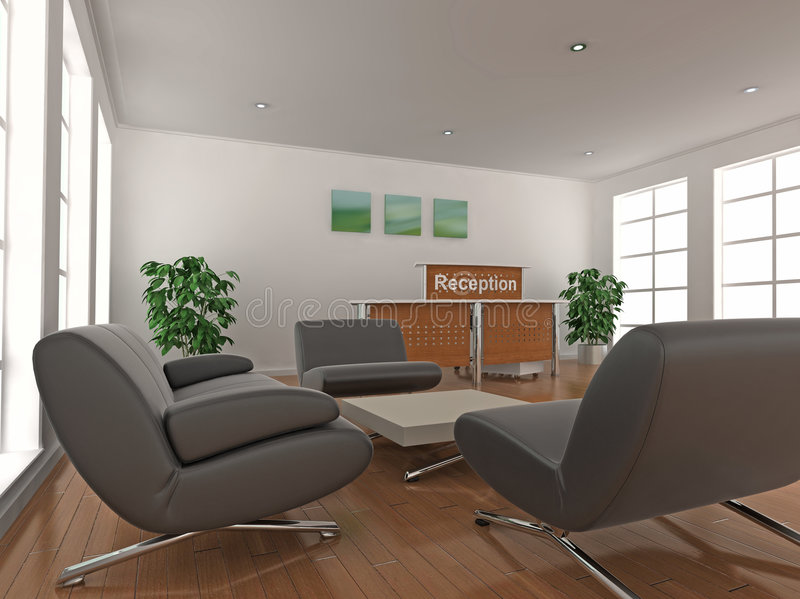 Reception Desk and Waiting Area royalty free illustration