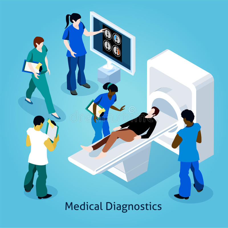 On Reception At Doctor Isometric Composition royalty free illustration