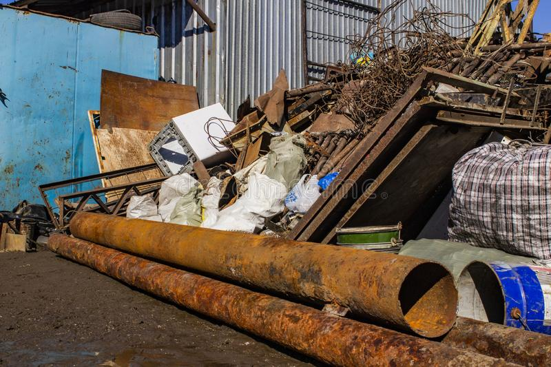 Reception of ferrous metal scrap on the scales. Reception of ferrous metal scrap on the scale royalty free stock photos