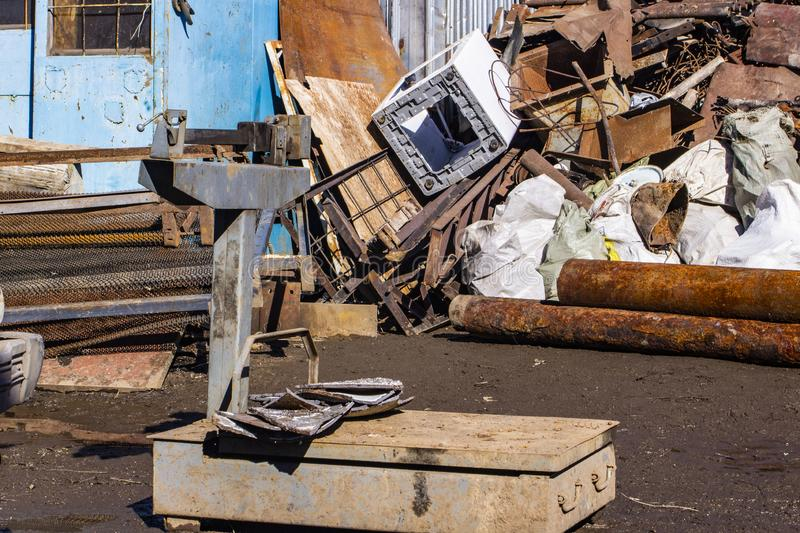 Reception of ferrous metal scrap on the scales. Reception of ferrous metal scrap on the scale royalty free stock image