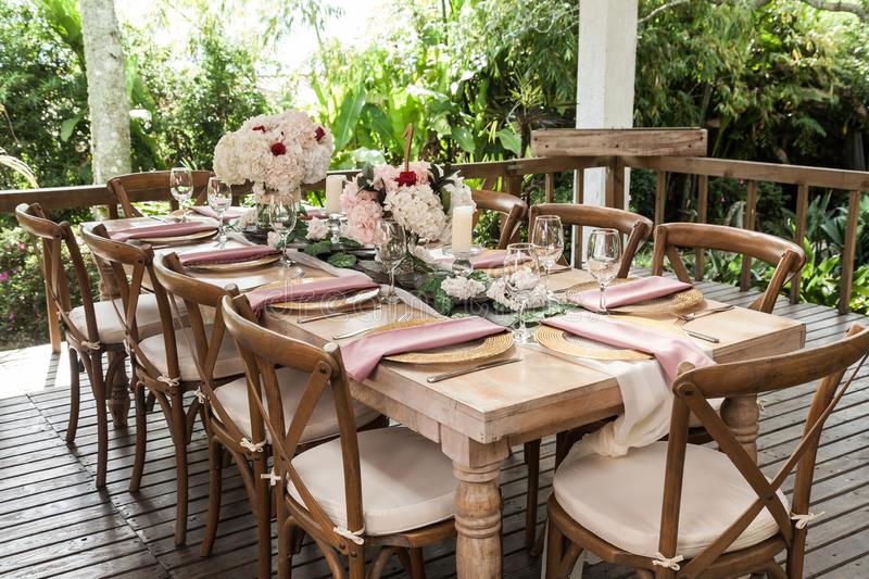 Reception hall decorated with tables for wedding or other social event royalty free stock photos