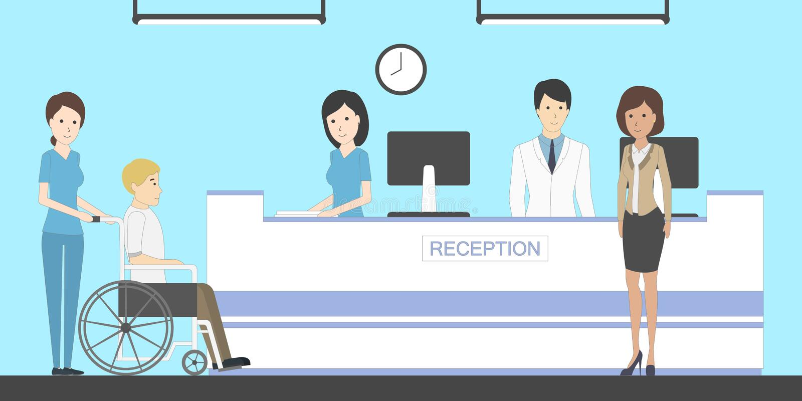 Reception in hospital. Reception in hospital with patients. Waiting room with disabled man. Healthcare royalty free illustration
