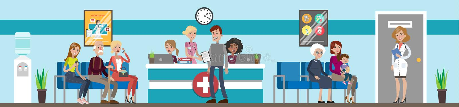 Reception at hospital. Patients and doctors waiting stock illustration