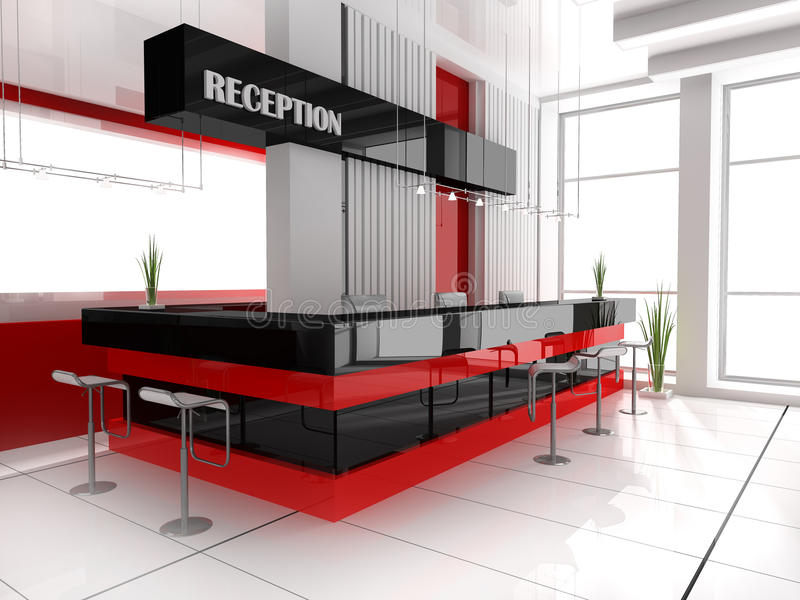 Reception in hotel. Hall of hotel in agoy 3d image