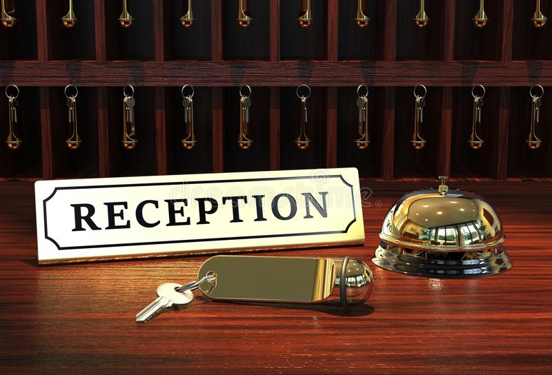 Reception. With hotel key and bell 3D rendering royalty free illustration