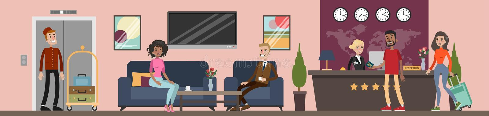 Reception at hotel. Reception at hotel with staff and visitors royalty free illustration