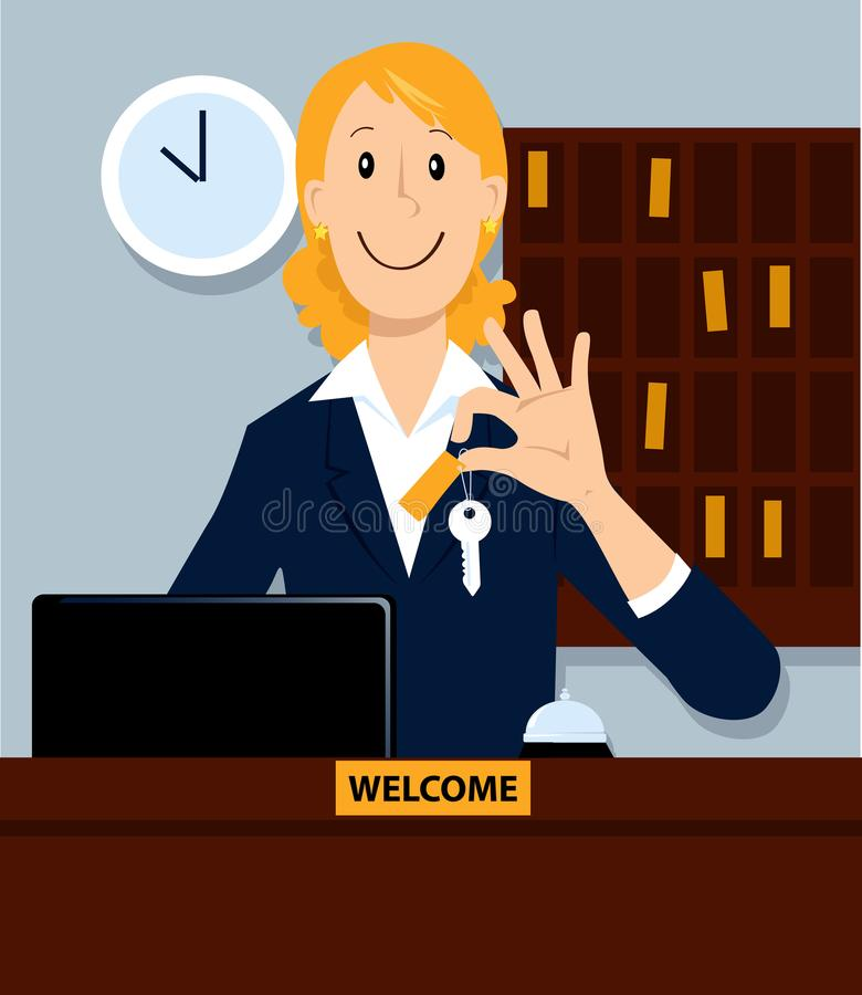 Reception in a hotel stock illustration