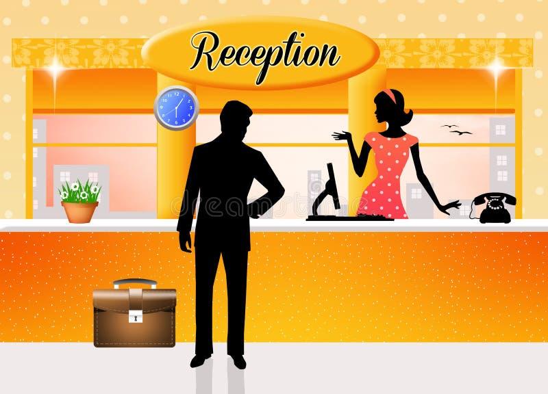 Reception. Illustration of reception in hotel vector illustration