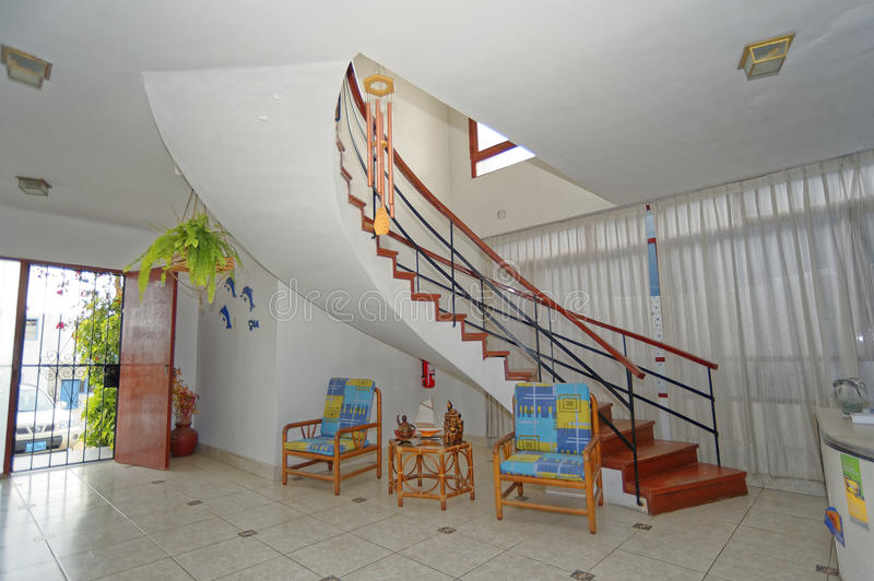 San bartolo, peru: tipical beach hotel interior. Image taken of interior stairs in one of the many hostels in san bartolo, lima, peru royalty free stock images