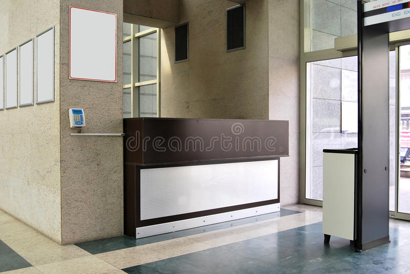 Reception and lobby. Empty lobby and reception desk stock image