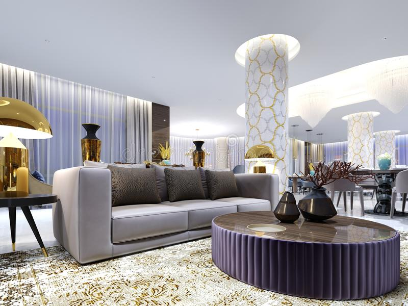 Reception and lounge area in hotel, Luxury sofa with two armchair with side tables with golden lamps and coffee table vector illustration