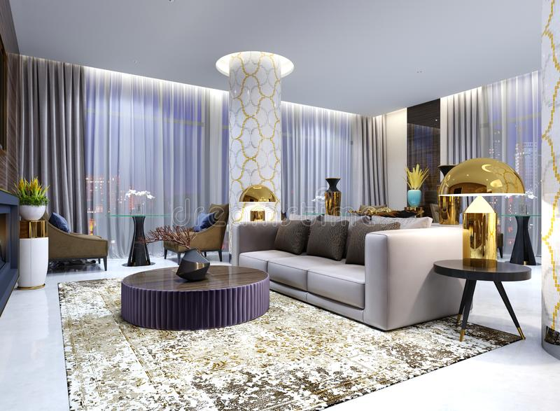 Reception and lounge area in hotel, Luxury sofa with two armchair with side tables with golden lamps and coffee table. 3d rendering stock illustration