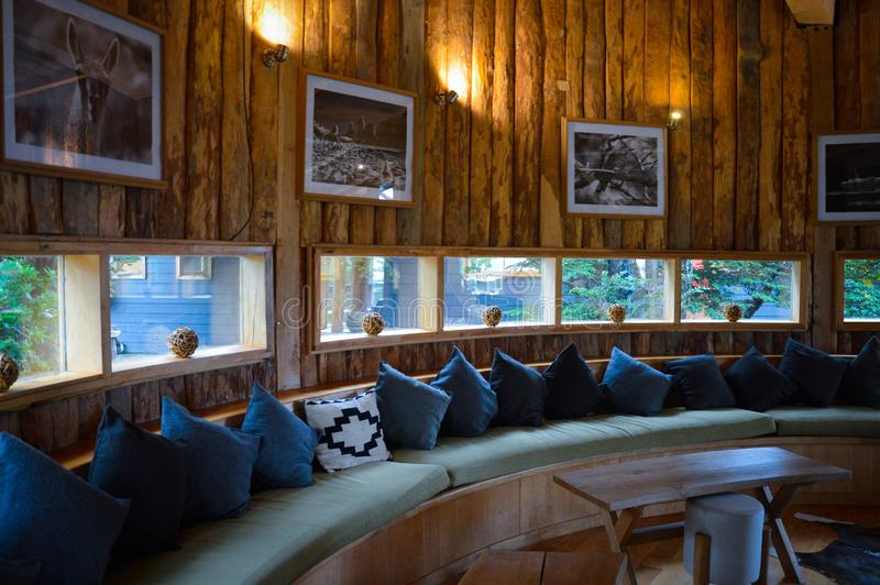 Reception of the luxury Hotel and Yurt Camp close  to the National Park Torres del Paine, Patagonia of Chile stock photo