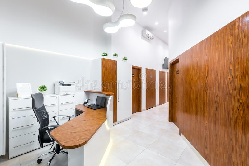 Reception of modern, private clinic royalty free stock photos