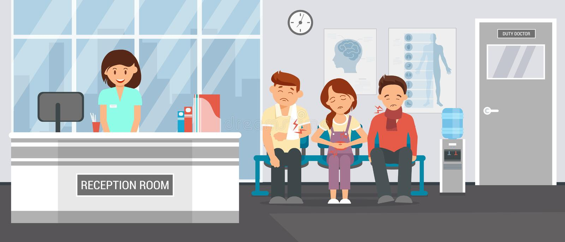 Reception Room at Clinic. Vector Flat Illustration. Reception Room at Clinic. Patients in Doctors waiting Room in Hospital, office Interior Clinic. Consultation royalty free illustration