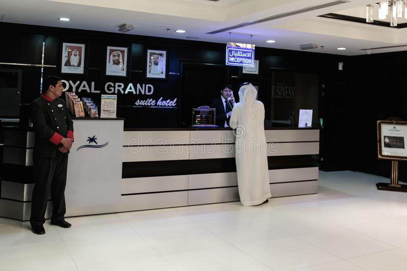 Reception Royal Grand Suite Hotel. SHARJAH, UAE - NOVEMBER 4: Reception Royal Grand Suite Hotel. Hotel has 136 guestrooms. Guests can use the in-room royalty free stock images